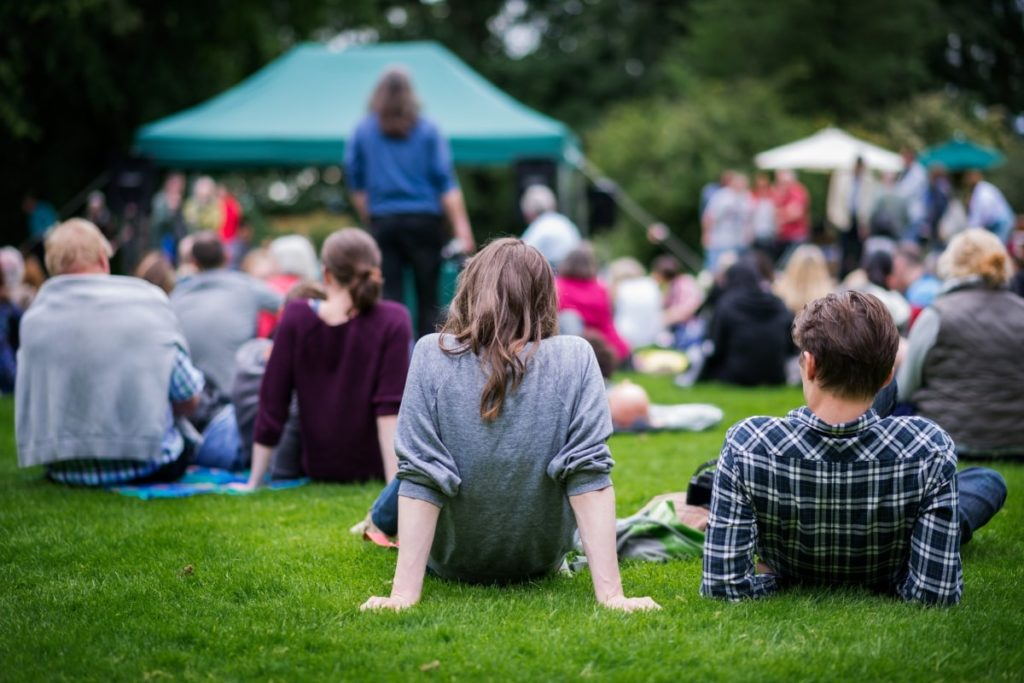 people watching a concert on the lawn